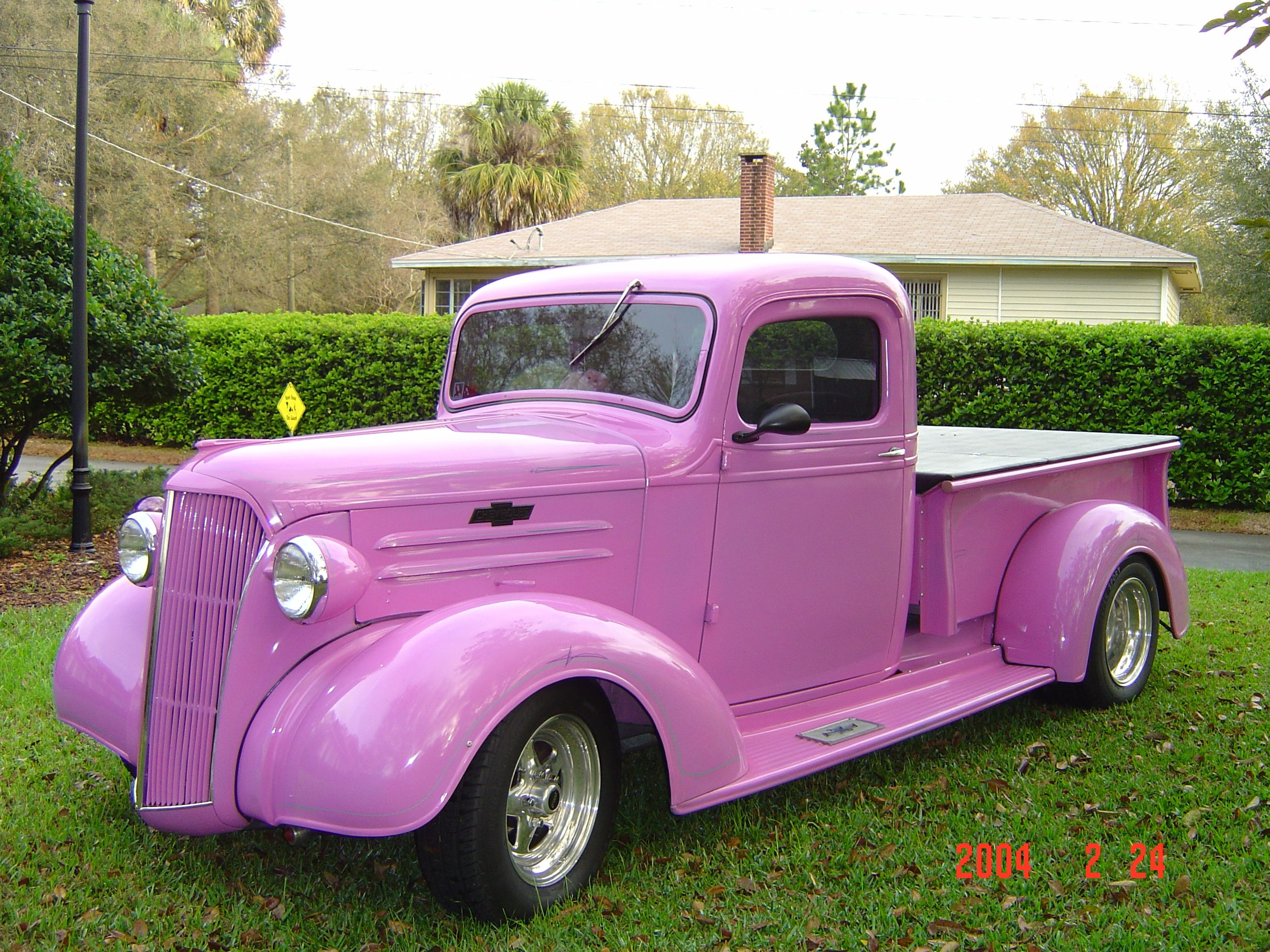 My lavender/pink 1937 Chevy pick-up pink street rod | street rod ...