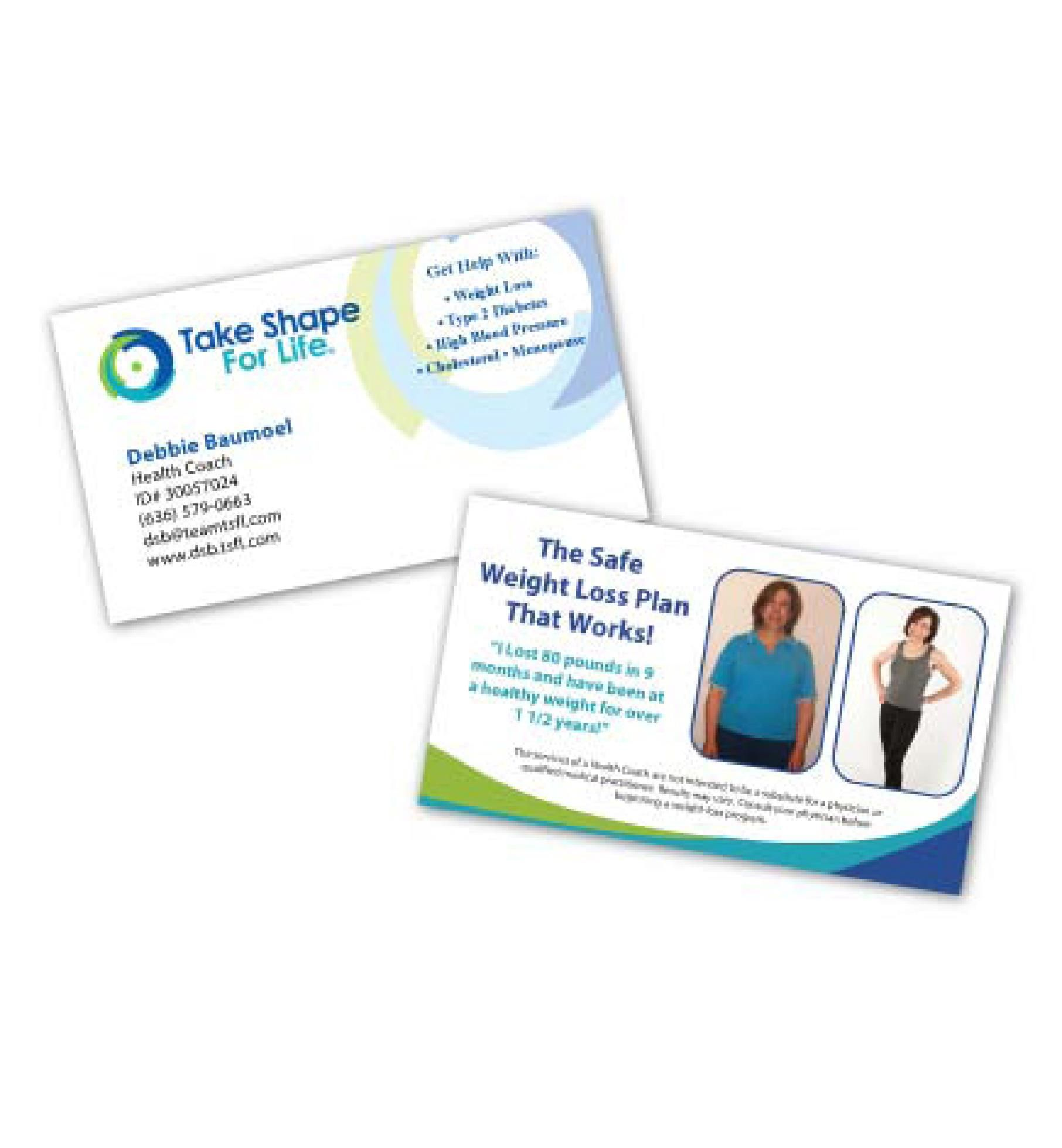 Take Shape For Life Double Sided Business Card Www Trileafdesigns