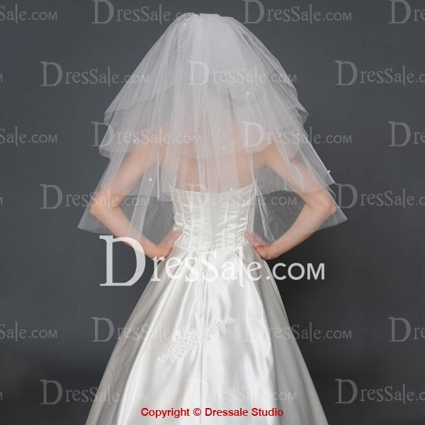 Fancy Four-tier Elbow Wedding Veil with Scattered Beadings