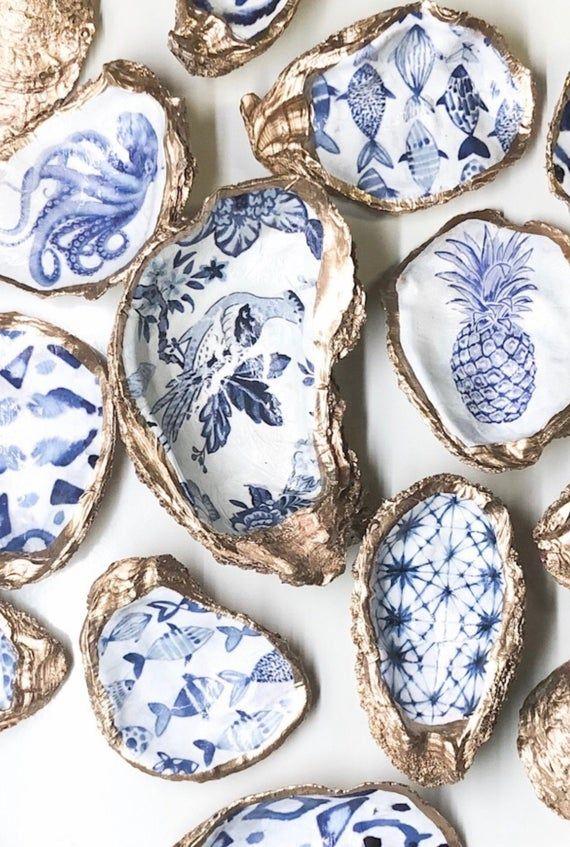 Statement Oyster Shell Ring Bowl, Chinoiserie, Delft Blue Trinket Dish, blue and white Hostess gift, Something Blue Coastal Jewelry holder, #whatkindofdog