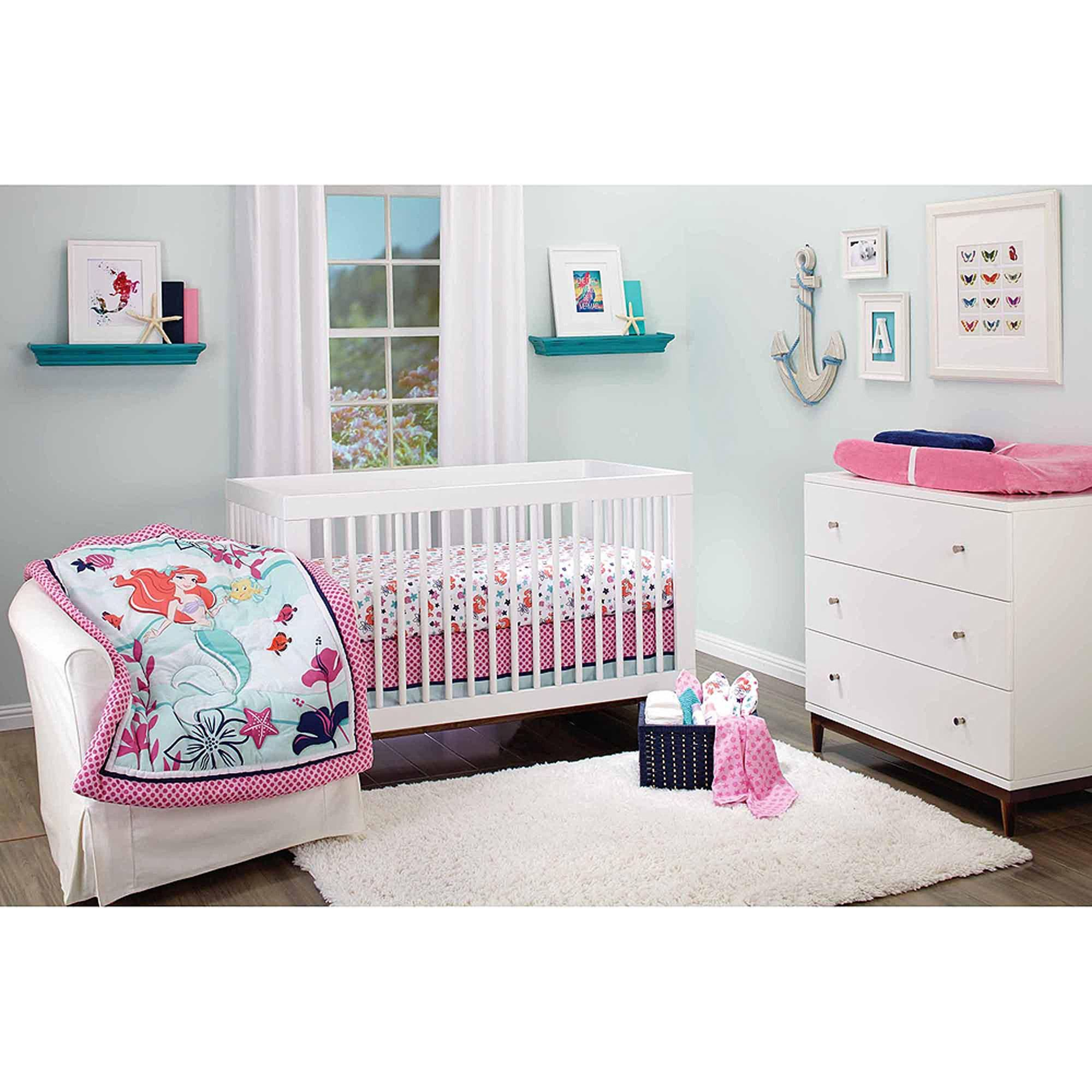 Disney Ariel Sea Treasures 3 Piece Crib Bedding Set Walmart Com
