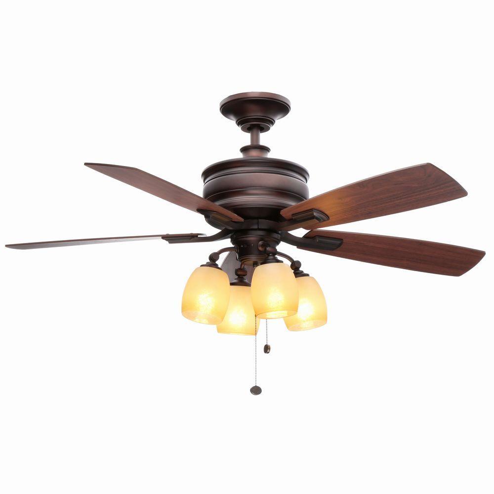 Hampton Bay Oakley 52 In Indoor Oil Brushed Bronze Ceiling Fan With Light Kit Ac413a Obb The Home Depot Ceiling Fan With Light Bronze Ceiling Fan Ceiling Fan