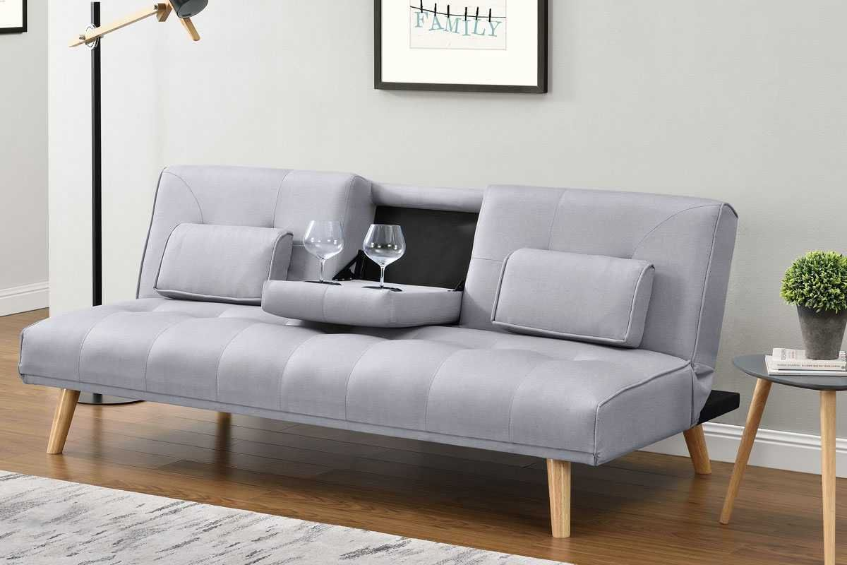 Brooklyn Light Grey Fabric Modern Scandi Sofa Bed Cheap Sofa Beds Single Sofa Bed Compact Sofa Bed