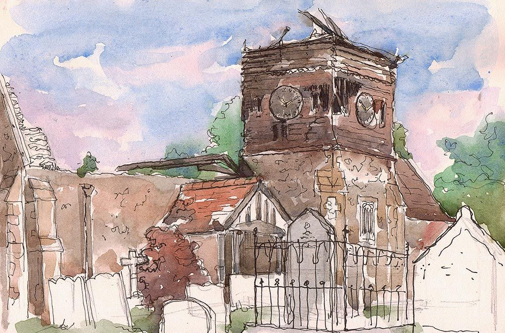 A more difficult sketching moment at the ruined St Peter's Church, Ropley. Heat, memories and fundraising, find out more here: http://cornishinc.wordpress.com/2014/08/01/a-skeleton-in-the-heat/