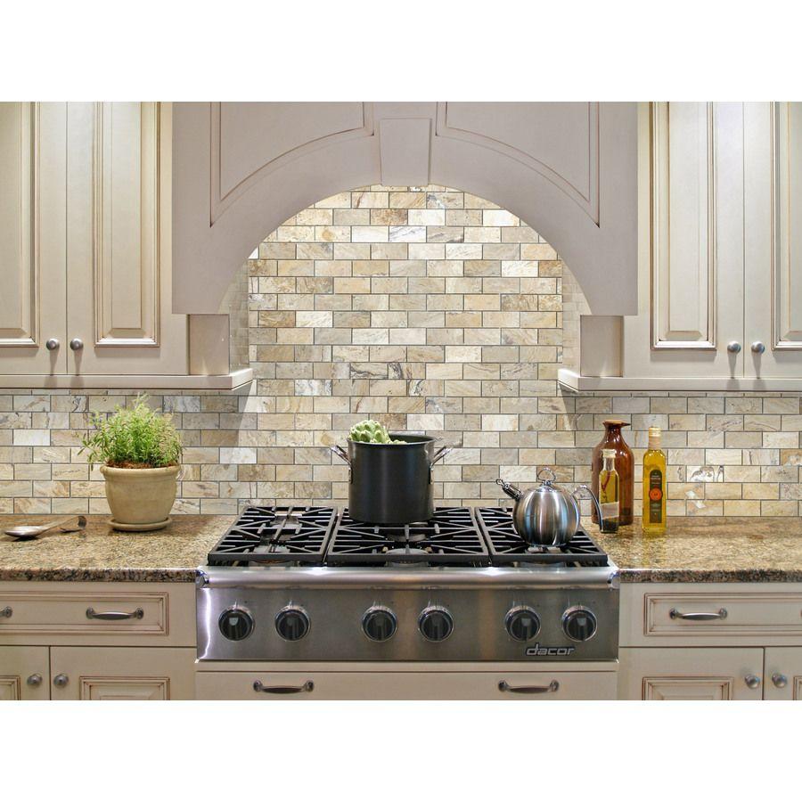 Shop allen + roth Beige Natural Stone Mosaic Subway Indoor