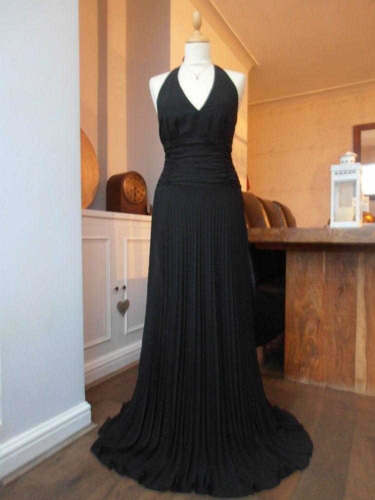 Monsoon black halter neck vintage maxi long evening dress size 12