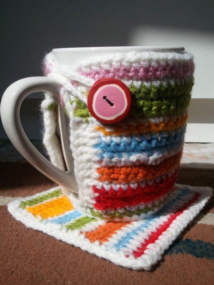 Decorando tazas con crochet. ¡No te quemes los dedos! | Decorando ...