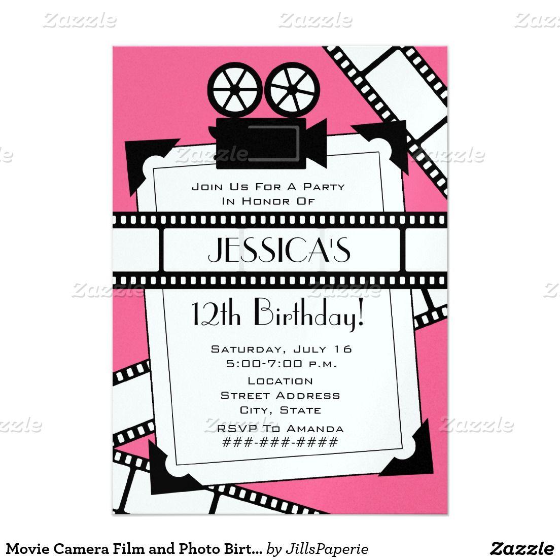 Movie Camera Film and Photo Birthday Party Invite | Birthday Ideas ...
