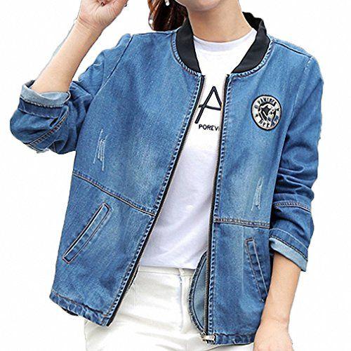 488c79cf8c1 Huiwa Womens Denim Jacket Large Size Long Sleeve Plus Size Bomber Coats