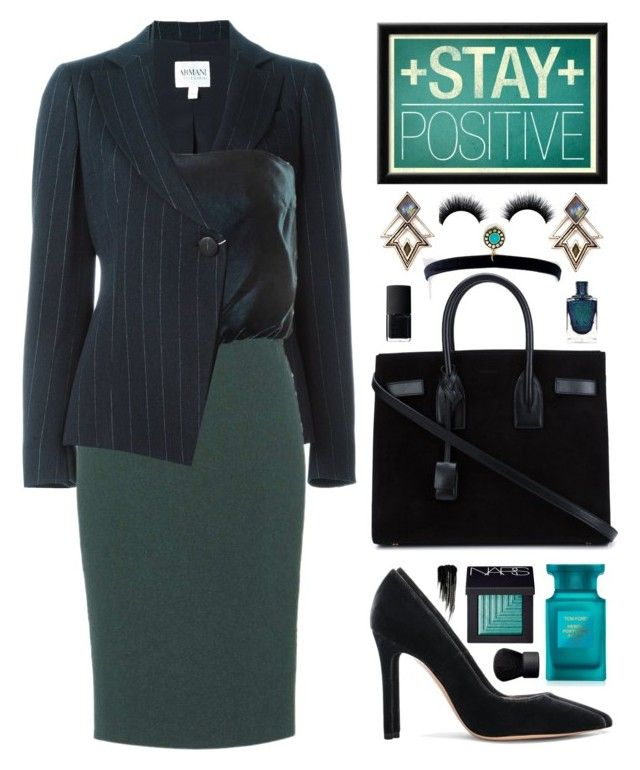 """""""Stay Positive"""" by belli-ssimo ❤ liked on Polyvore featuring Armani Collezioni, Tom Ford, Gianvito Rossi, Yves Saint Laurent, Lulu Frost, Vanessa Mooney, NARS Cosmetics and Urban Decay"""