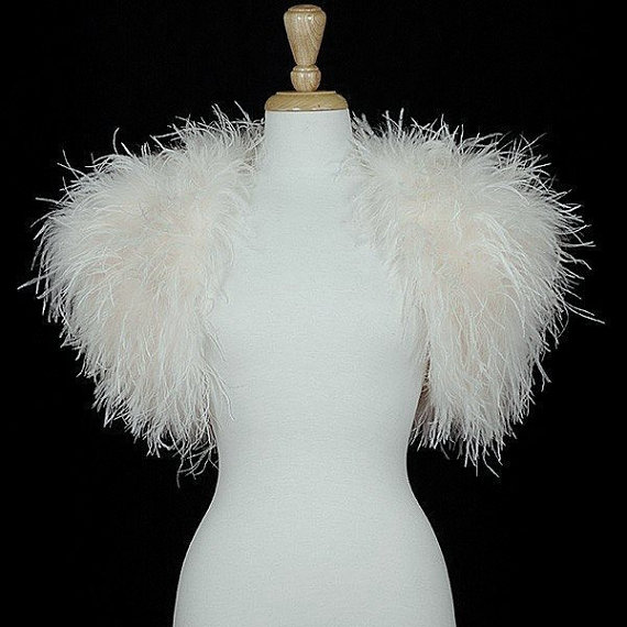 ec6f55a239d OPULENT OSTRICH FEATHER Wrap Shrug Jacket Bolero - New Arrival - Available  in Ivory or Black