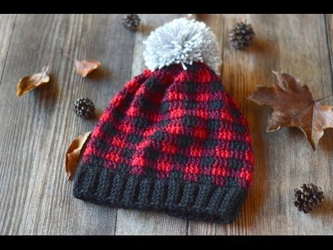 Crochet Plaid Slouchy Hat Video Tutorial - YouTube | Vidéo crochet ...