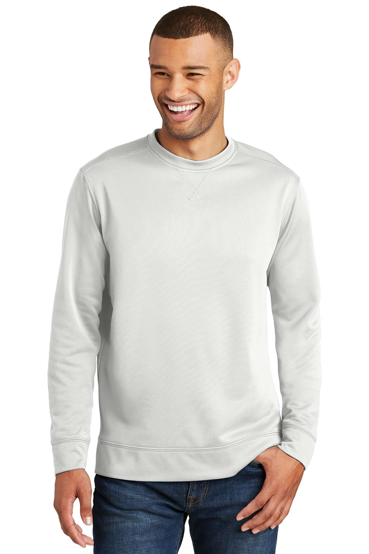 03b7a21bf5 Stay cool and comfortable while active in Port   Company PC590 -  Performance Fleece Crewneck Sweatshirt. Made with 100% polyester
