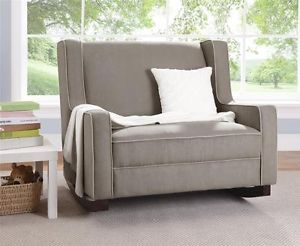 Double Wide Rocking Chair Taupe Upholstered Baby Rocker Nursery