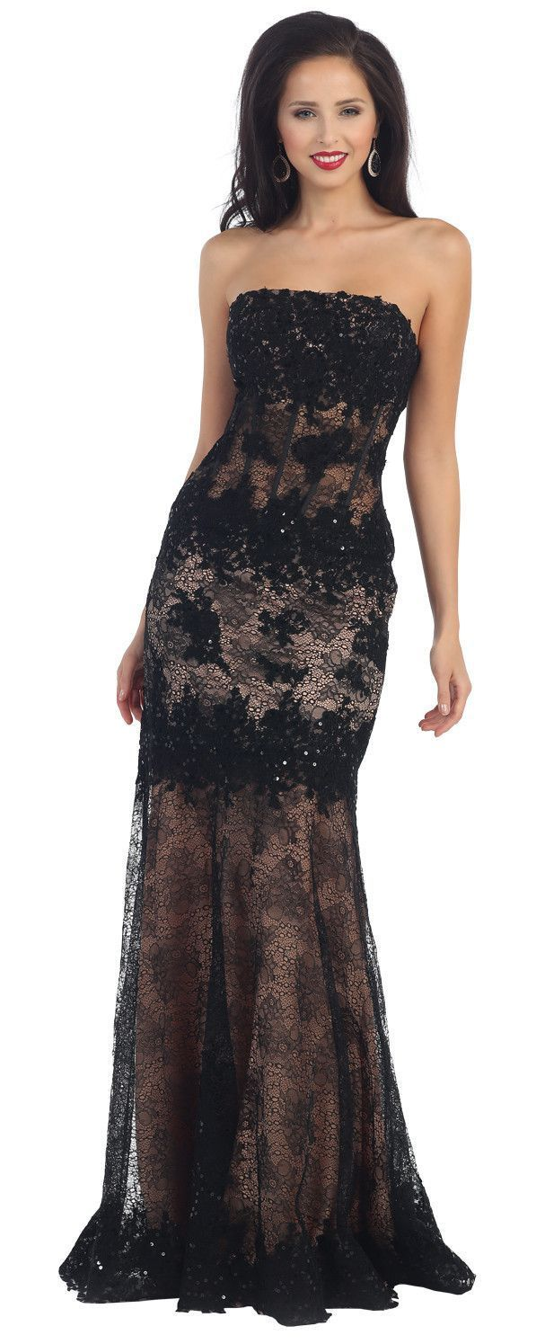 Prom Long Lace Mesh Mermaid Style Dress Formal Occasion