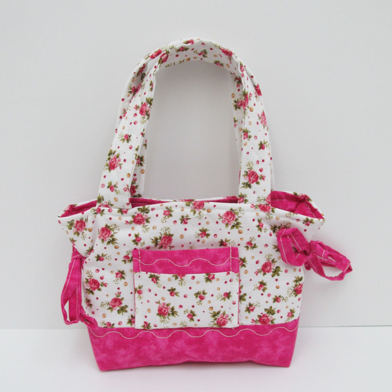Pink Flower Purse Quilted Toddler Bag Handmade Girls Bag Little