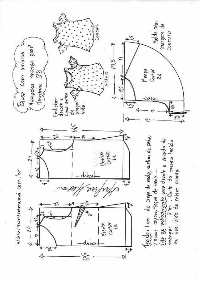 Blusa con hombro descubierto | A patrones | Pinterest