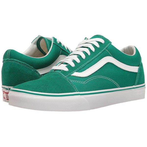 e8a6ca54dff2 Vans Old Skool ((Suede Canvas) Ultramarine Green True White) Skate... ( 60)  ❤ liked on Polyvore featuring shoes