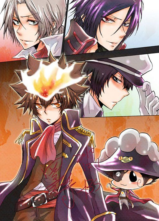 Type: Fan Art, Anime(s)/Show(s): Reborn, Character(s): Top Left to Right then Down: Gokudera, Mukuro, Tsuna/Natsu, Hibari, Reborn. Comment: I can see them being pirates.