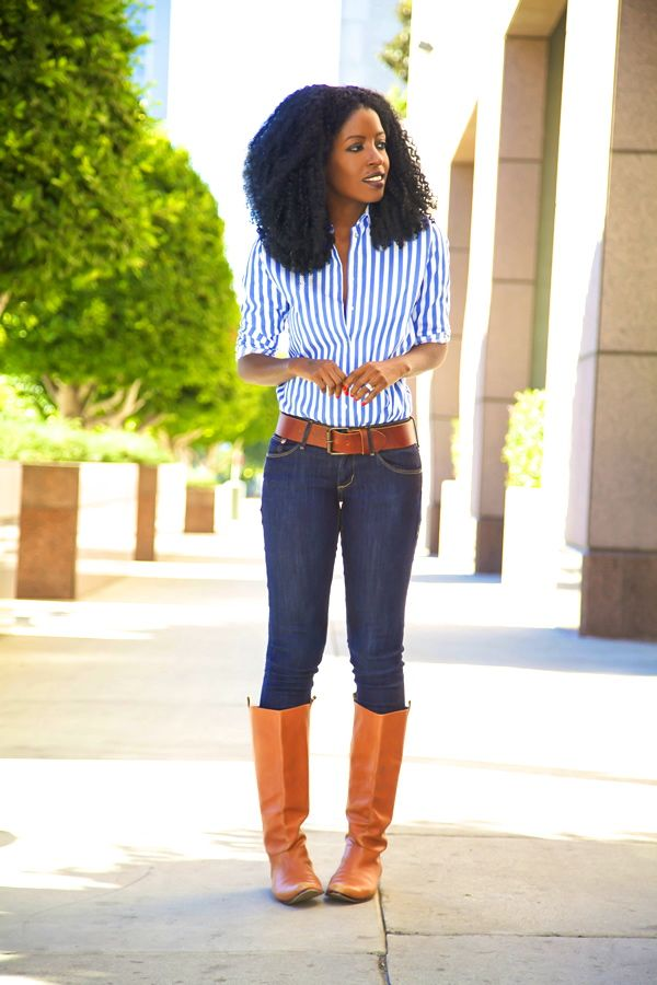 Striped Button-down Shirt   Skinnies   Riding Boots | My Style ...