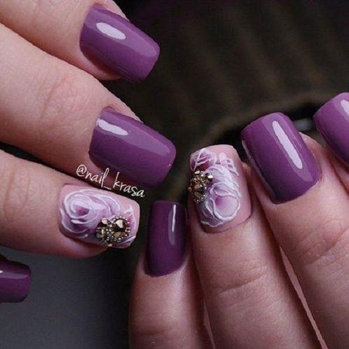 Маникюр на рози  rose nail art rose nails floral nails