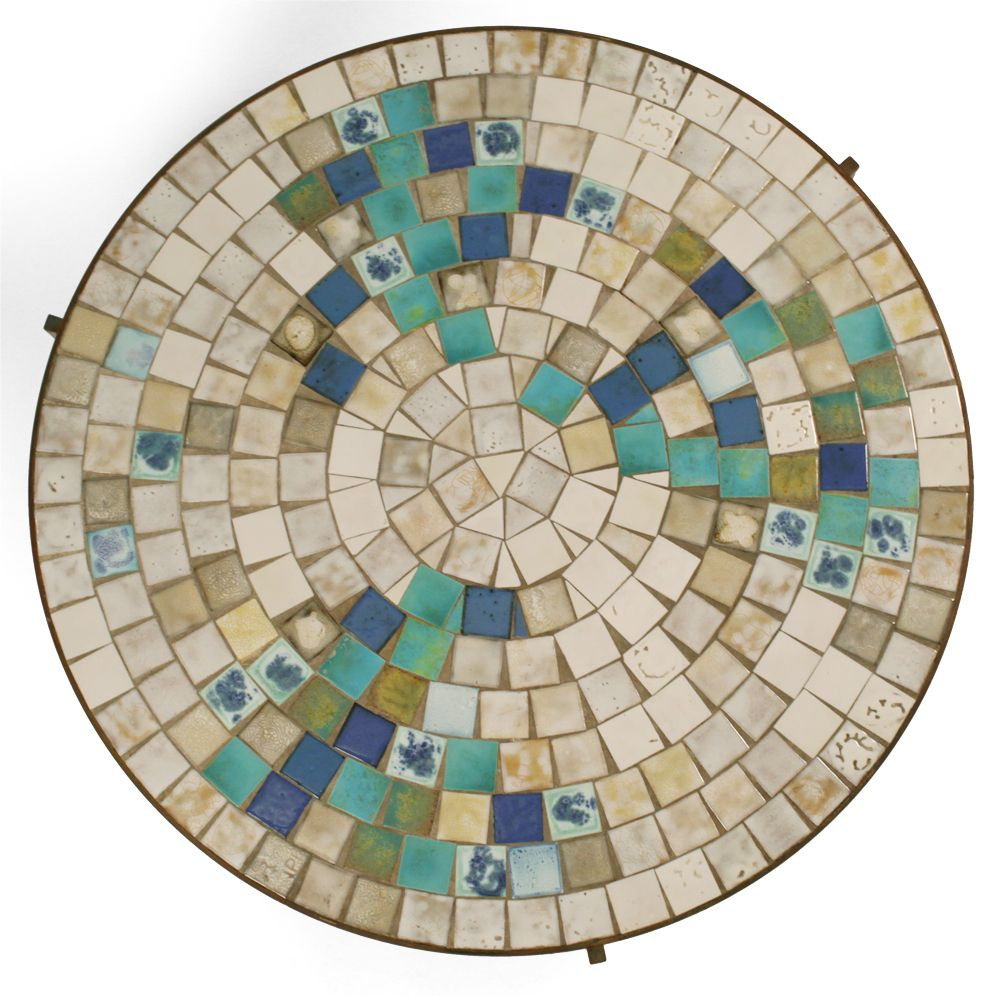 Sold custom made butterfly mosaic table top for mary ann in texas - Tile Top Bronze Frame Circular Cocktail Table By Mosaic House