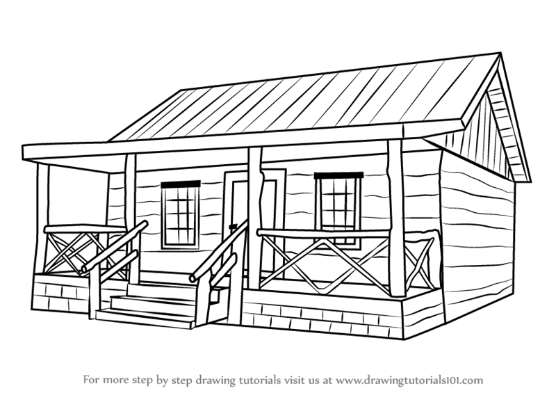 Learn How To Draw A Wood Cabin Houses Step By Step Drawing