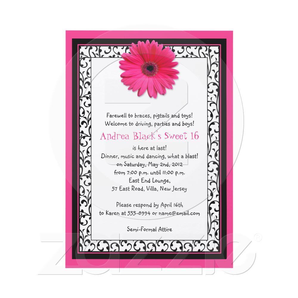 Pink Gerbera Floral Sweet 16 Birthday Invitation from Zazzle.com ...