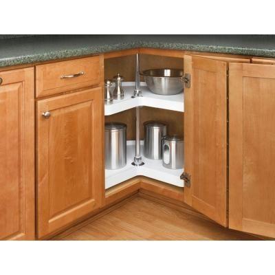 Rev A Shelf 2 Shelf 32 In Polymer Kidney Shaped Lazy Susan Set In White 6472 32 11 52 The Kitchen Cabinets Clever Kitchen Storage Outdoor Kitchen Appliances