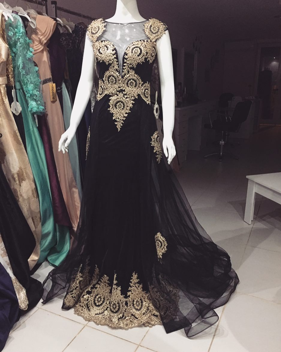 Black tulle mermaid evening dresses long with gold prom dress