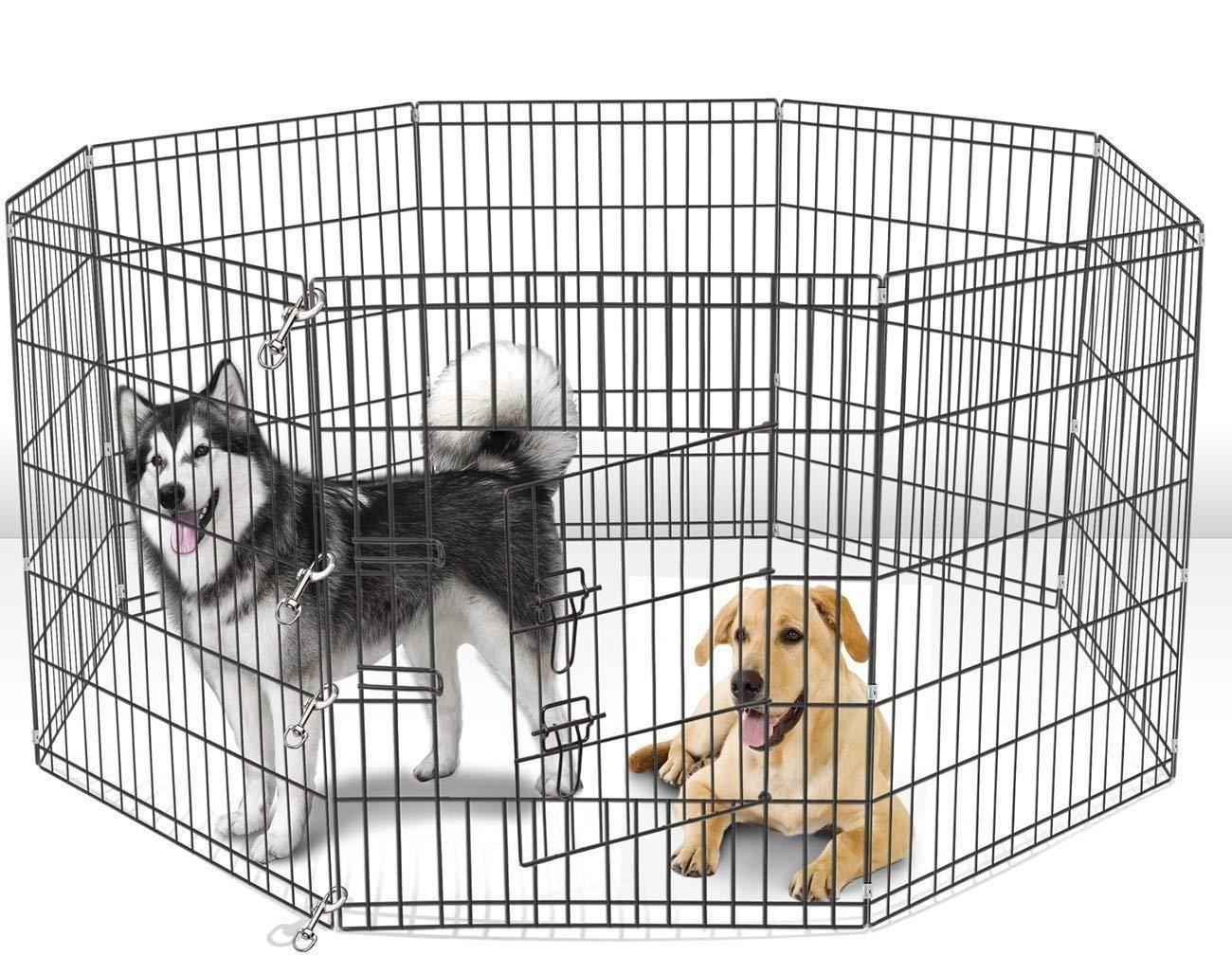 36 Dog Kennel Outdoor Pet Play Pen Cat Rabbit Cage 8 Panels Heavy