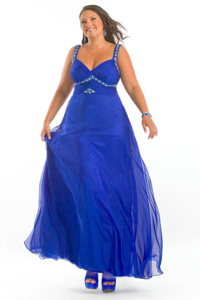 Plus size royal blue chiffon dress – Woman art dress