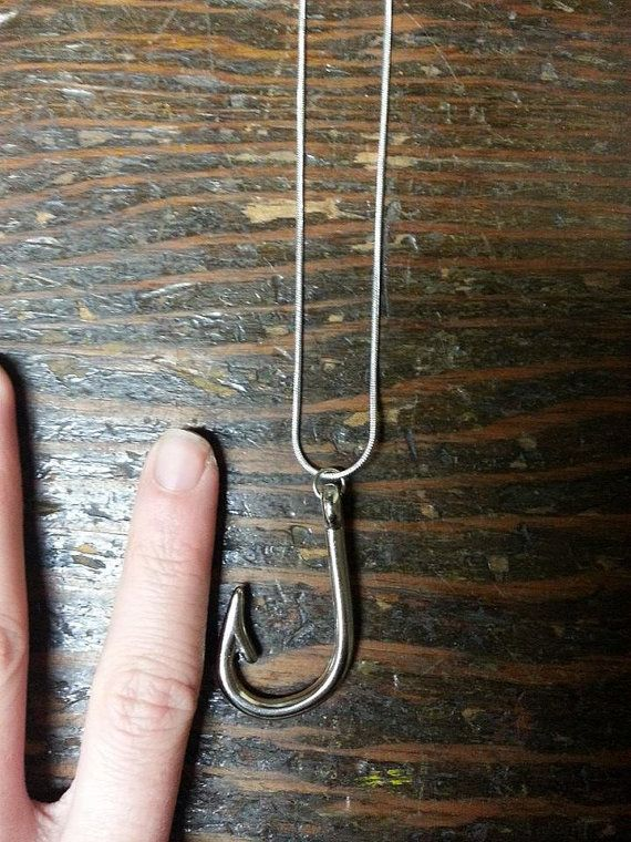 Silver Fish Hook Charm Necklace for the Country by GunPowderWoman