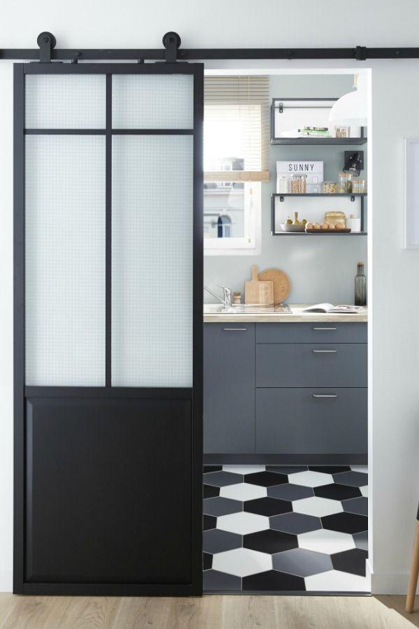 Porte coulissante laqu e noir atelier xxl artens x cm en 2019 cuisine cuisine - Mettre une porte coulissante ...