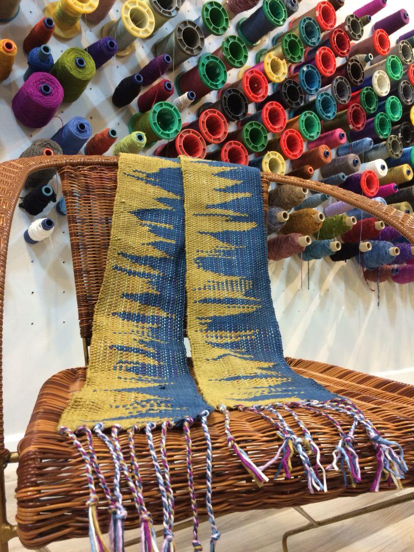 Silk woven scarf - clasped weft technique