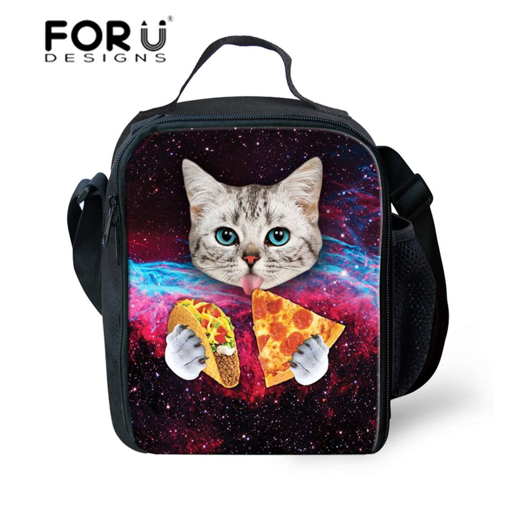 Forudesigns Galaxy Russian Tumblr Style Lunch Bags For Boys Girls Pizza Cats Hipster Triangle Insulation Bags Tote Picni Taco Cat Hipster Triangle Duvet Covers