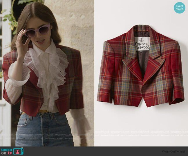 Emily's red plaid cropped blazer on Emily in Paris