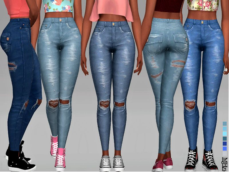 58bc3969f09d -High waist ripped skinny jeans, for your sims Found in TSR Category 'Sims  4 Female Everyday'