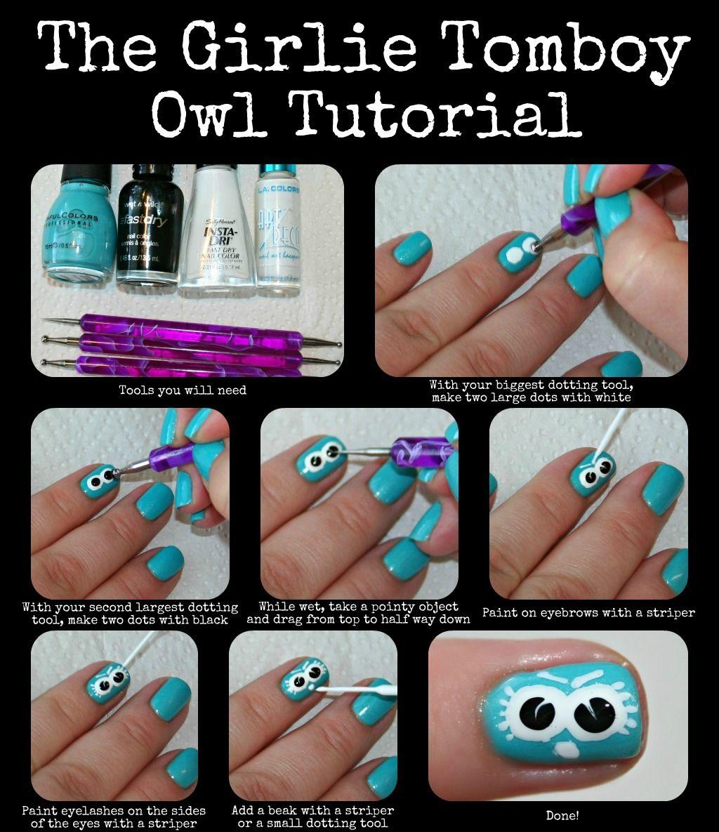 The Girlie Tomboy\'s Owl Nail Art Tutorial | Nail Art Tutorials ...