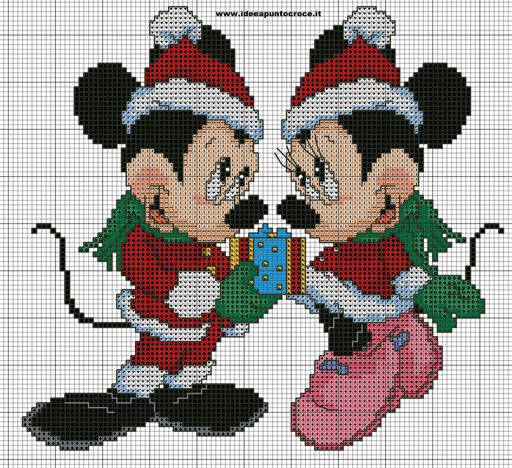 minnie e topolino natalizi punto croce by syra1974.deviantart.com on @DeviantArt