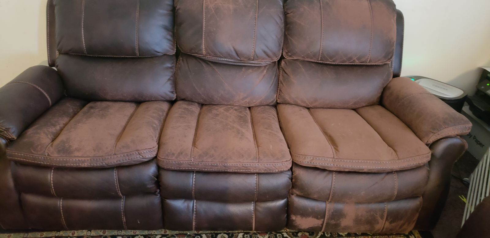 Can Fabric Upholstery Be Dyed Or Refinished To Look Like Leather In 2020 Faux Leather Sofa Genuine Leather Furniture Faux Leather Couch