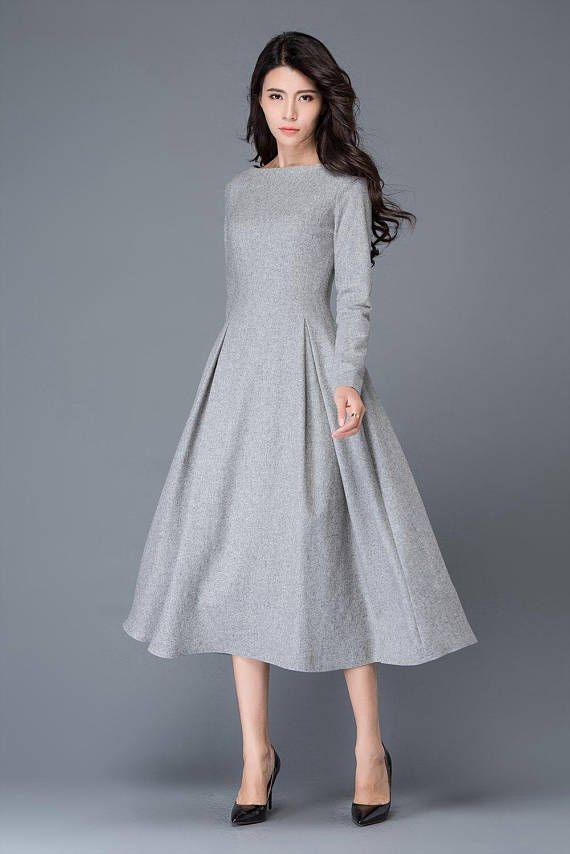 6d2efc770dd13 womens dress, wool dress, winter dress, gray wool dress, boat neck ...