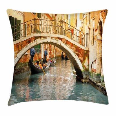 East Urban Home Ancient Bridge Gondola Square Pillow Cover Size: