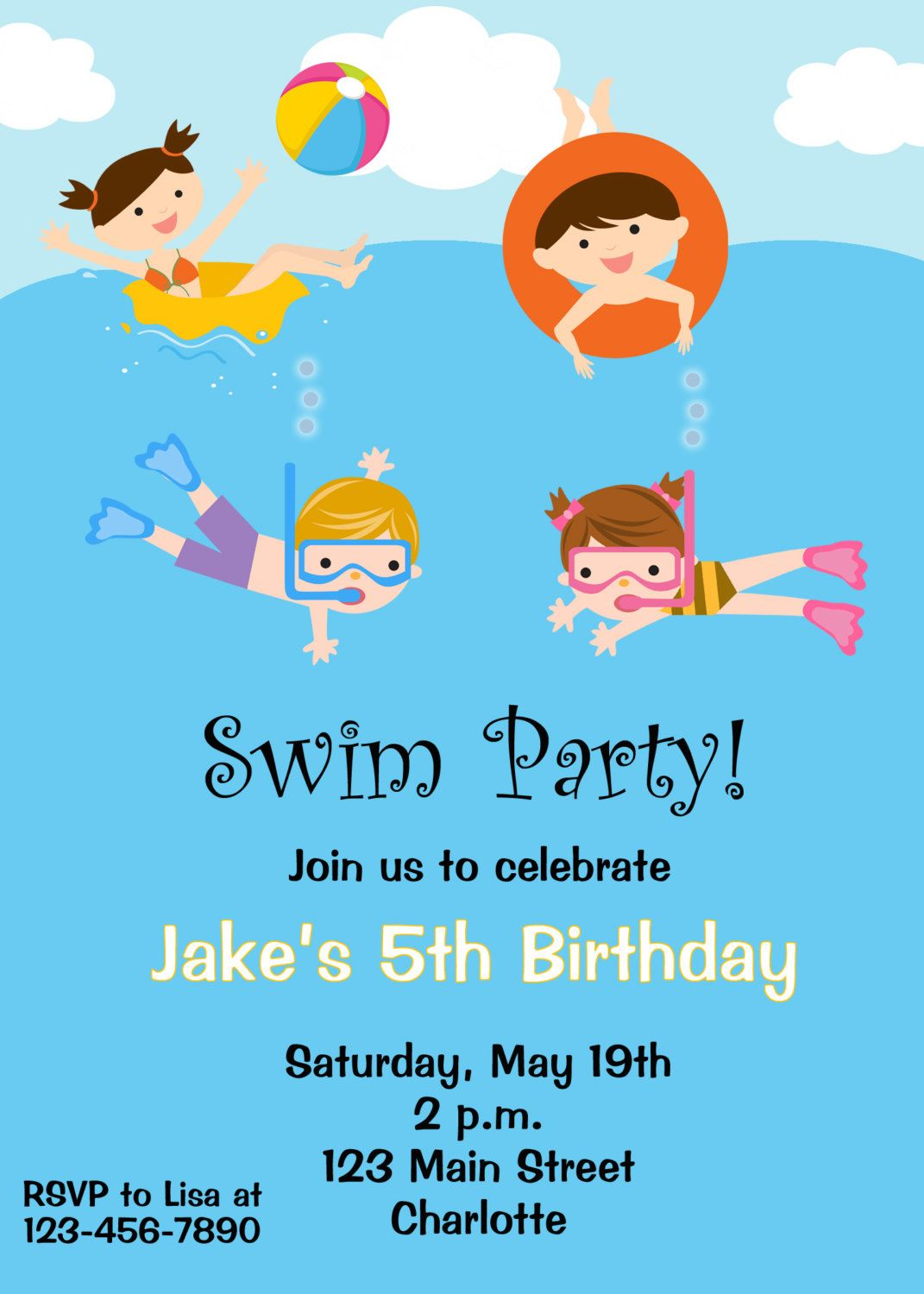Pool party birthday invitation -- pool party - pool toys - swimming ...