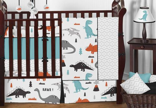 Unique Dinosaur Gray Orange Black And White Modern Boy Baby 9pc Bedding Crib Set Crib Bedding Boy