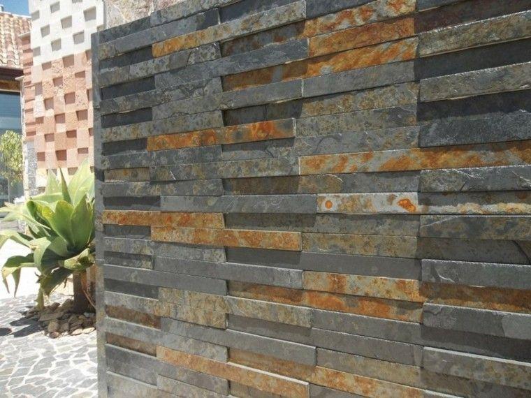 Revestimiento de paredes exteriores 50 ideas lugares para visitar modern exterior wall y - Revestimiento paredes imitacion piedra ...