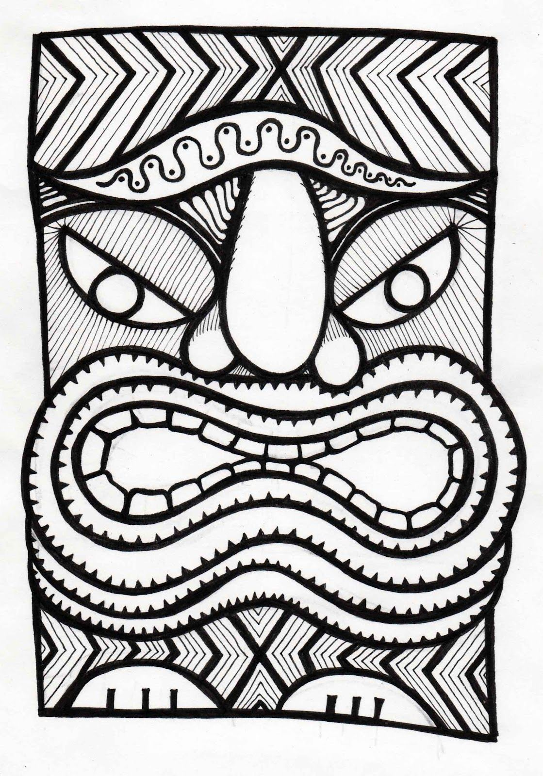 how to draw a tiki head!  tiki head tiki art tiki mask