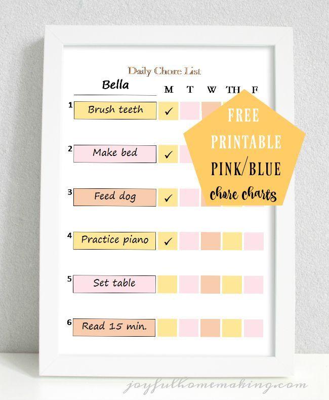 Free Printable Chore Charts | Free printable chore charts, Printable ...