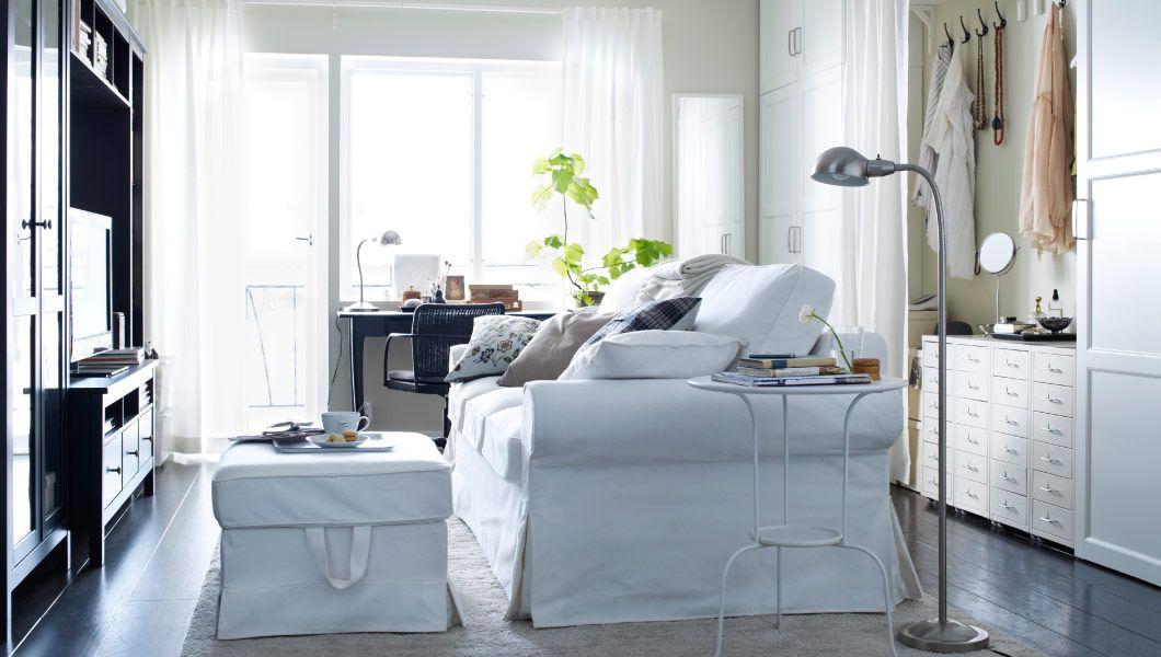 IKEA Österreich, Inspiration, Wohnzimmer, EKTORP LÖVÅS 3er Bettsofa, EKTORP  BROMMA Hocker