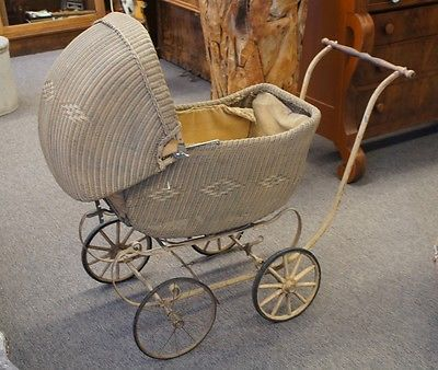 Antique 1920s Heywood Wakefield Wicker Rattan Baby Stroller Carriage Buggy